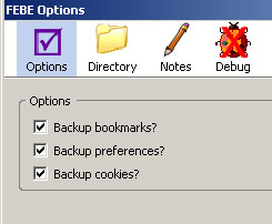 screenshot of the FEBE Options Dialog