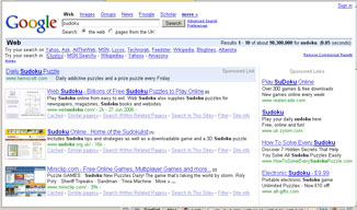 Rendering of Google Results with thumbnails positioned on the results