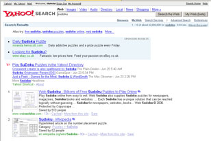 Rendering of Yahoo Results with thumbnails positioned on the results