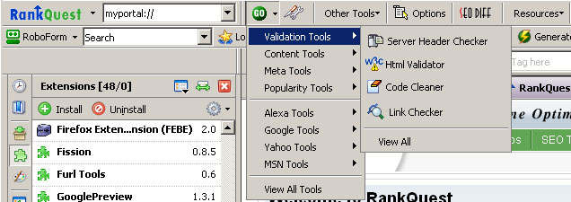 Screenshot of the RanQuest SEO Toolbar