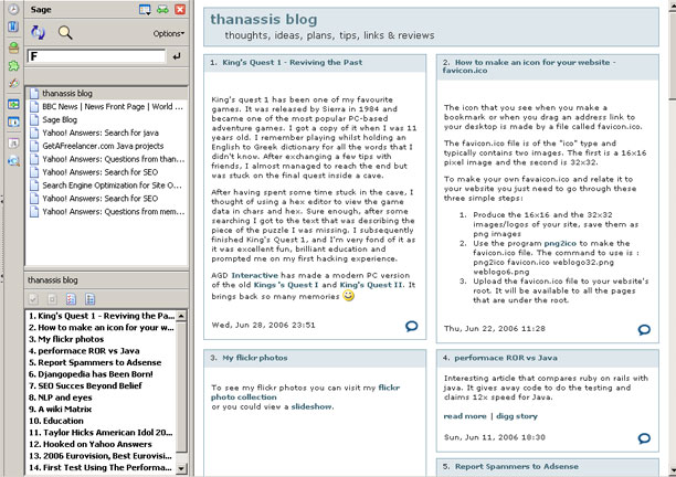 Screenshot of the Sage RSS and Atom Reader for Firefox
