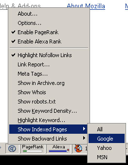 Screenshot of SearchStatus Toolbar and Menu Options