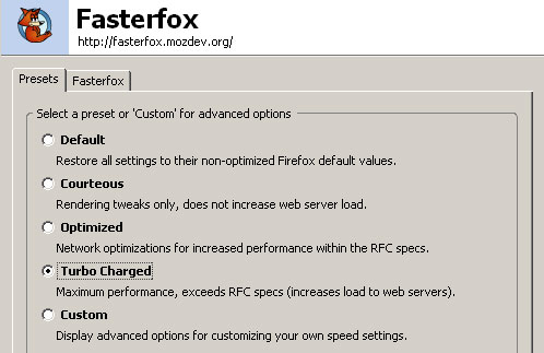 Screenshot of the FasterFox Options Dialog