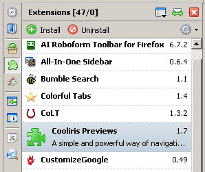Screenshot of the All-In-One Sidebar, Installed Extensions View