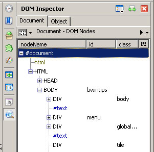 Screenshot of the DOM Inspector Firefox Plugin, Document View