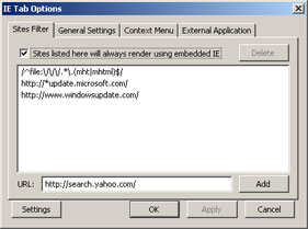 Configuration Dialog for IEtab