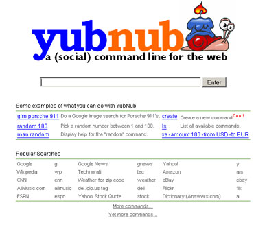 Screenshot of yubnub's first page